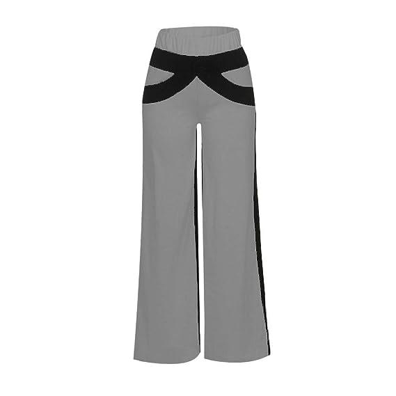 bb40239108 Color Sólido Sueltos Casual Remiendo Mujer Pantalones Yoga Mujeres Fitness  Pilates Pantalones Falda de Pierna Ancha Yoga Mujer Pantalones Deportivos  Largos ...