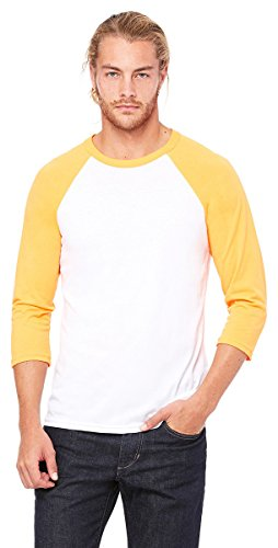3/4 Sleeve Raglan Jersey - Bella + Canvas Unisex 3/4-Sleeve Baseball T-Shirt, Medium, WHT/NEON ORANGE