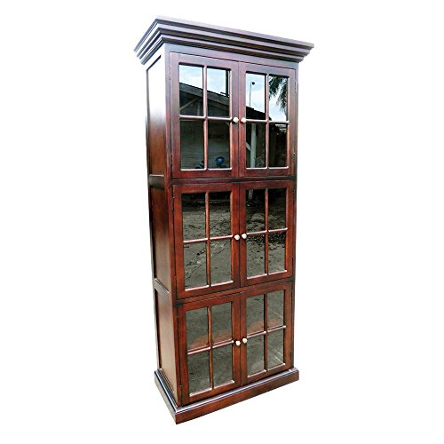 Home Accents Mahogany Wood 6 Door Library Bookcase