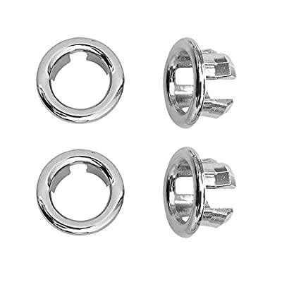 Kitchen Bathroom Basin Sink Hole Round Trim Chrome Overflow Cover Replacement Part, Pack of 4