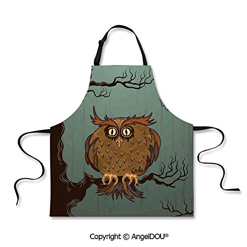 SCOXIXI Printed Unique Cool Kitchen Apron Exhausted Hangover Tired Owl in Oak Tree with Eyebrows Nature Cartoon Fun Artwork Waterproof Aprons for Restaurant BBQ Grill.]()