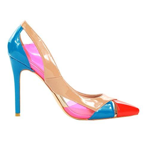 Enmayer Dames Pu Materiaal Hoge Hakken Gemengde Kleuren Instappers Zomer Feest Bruiloft Stiletto Pumps Schoenen Blauw