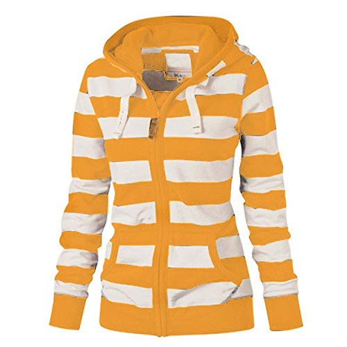 Womens Stripe Hoodie Sweatshirt Laimeng_World Women Ladies Zipper Tops Hoodie Hooded Sweatshirt Jacket Slim Coat]()