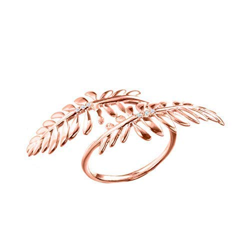 - Leaf ring by Majade. Rose gold tone Flower ring, nature inspired ring, floral engagement ring. Handmade silver diamond ring. Unique olive branch ring. Alternative wiccan ring. Two finger bypass ring.