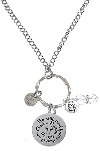 Know I Am God - Hidden Hollow Beads Rear view Mirror Car Charm Ornament, Sun Catcher, Hanging Pendent, Stainless Steel Chain (Be Still and Know I am God)