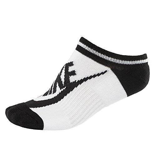 Nike Dri-FIT Cushion No-Show Tab Socks (White (SX6064-101) / Black, Medium)