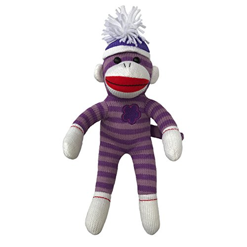Sock Monkey Plush by ColorBoxCrate 12 inch Purple Flower Sock Monkey, Embroidered Flower Sock Monkey, Classic Purple Sock Monkey with Purple Stripes Red Lips and Pom Pom Tossle Hat - Perfect Gift