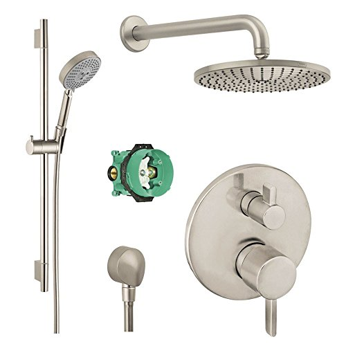 Pressure Balance Shower Set (Hansgrohe Complete Brushed Nickel aindance Shower Faucet Set with Handshower Wallbar, Pressure Balance Valve Trim with Diverter, and Rough)