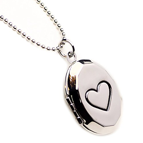 Photo Locket Necklace Diy Picture Carving Heart Oval Pendant for Girl White Gold Plated 18 inch ()