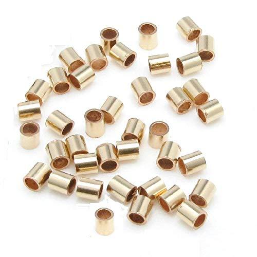 - 14 K Gold Filled 2 X 2 MM Crimp Beads (Pack of 100)