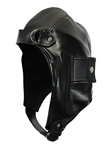 Deluxe Vinyl Bomber Aviator Helmet Flying Hat, One Size Black
