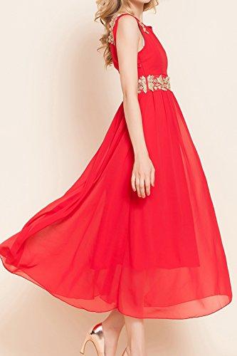 Mujeres Sin Mangas Vestido De Dama De Honor Vestido De Fiesta Largo Red