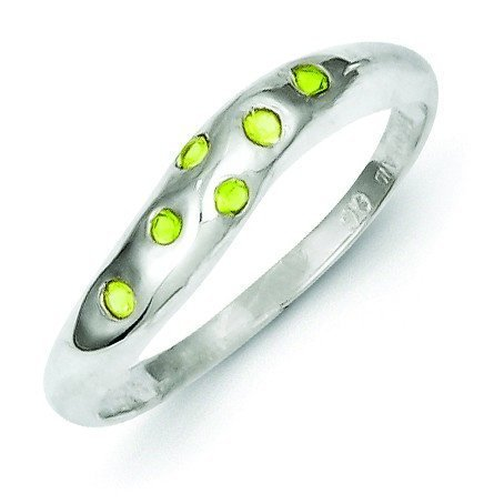 Sterling Silver Lime Green Cubic Zirconia Ring - Size 8 Lime Green Cubic Zirconia Ring
