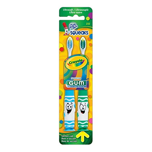 GUM Crayola Toothbrushes Pip-Squeaks Ultrasoft 2 ea Color may vary (Pack of 12)