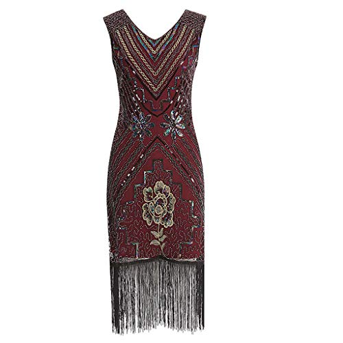 Dresses with Pockets for Women, UOKNICE Fashion Women Vintage 1920s Flapper Dress Costume Dress Fringed Sequin Tassel Dress