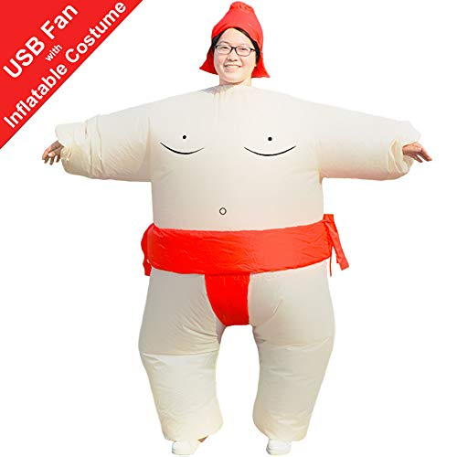 HUAYUARTS Men's Inflatable Costume Boys Giant Blow up Party Halloween Christmas Red Sumo -