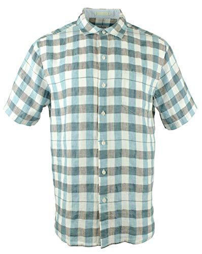 - Tommy Bahama La Grande Gingham Short Sleeve Linen Button Front Shirt (Cobalt Sea, X-Large)