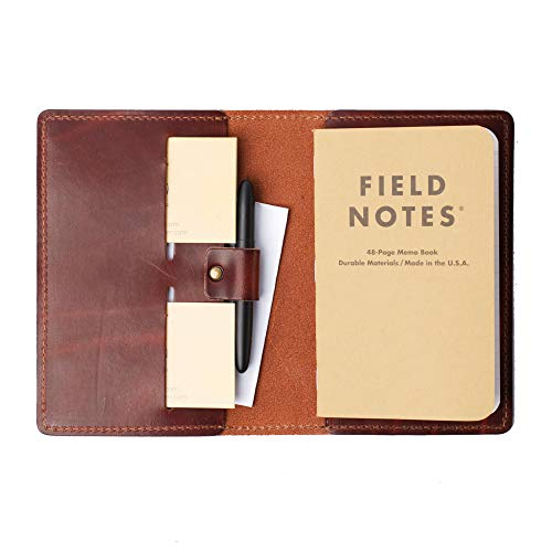 Coal Creek Leather Field Notes Cover with Pen Holder/Wickett & Craig Full Grain Leather/Handmade in the US (Walnut)
