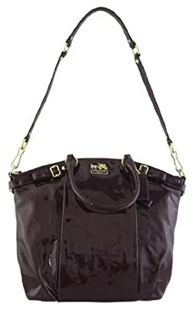 Coach Madison Patent Leather Lindsey Satchel Bag Tote 18627 Plum