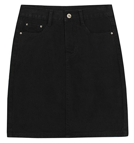 chouyatou Women's Basic Five-Pocket Rugged Wear Denim Skirt with Slit (Small, Black)