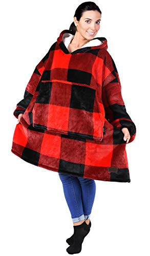 Catalonia Oversized Sherpa Hoodie Sweatshirt Blanket,Super Soft Warm Comfortable Giant Hoody with Large Front Pocket,for Adults Men Women Teenage Red Plaid