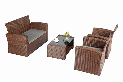 Baner Garden 4 Piece Outdoor Furniture Wicker Rattan Patio Backyard Garden Set with Grey Cushions, Full, Brown - Quality - Banner Garden outdoor furniture is built for comfort With deep seating supported by rust resistant powder coated Steel frames. Comes with smoke grey cushions. Handwoven - each piece is meticulously woven with high grade PE Rattan wicker and is a patio Furniture staple for any porch, patio, pool or sunroom Low maintenance - All weather Wicker and Cushions only require minor spot cleaning with a damp rag, water, and mild soap for endless beauty season after season - patio-furniture, patio, conversation-sets - 41b%2BStk%2BJYL -