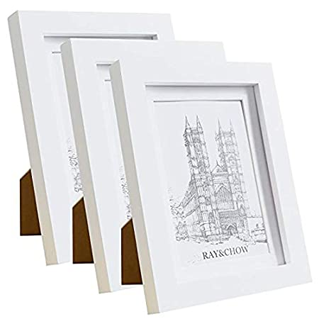 Ray & Chow 5x7 White Photo Frame - 3 Pack- Real GLASS Front - Solid ...