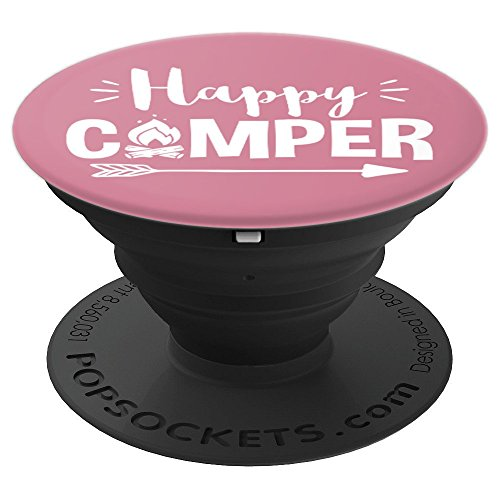 Happy Camper PopSocket made our list of DIY Glam Camping Ideas And Tips And Cute Glamping Accessories For Do It Yourself RV And Tent Glamping, Glamping Gifts, Fun Gear And Gifts For Glampers, Awesome Decor, Furniture, Lights, Decorations, Camping Hacks And Products To Add To Your DIY Glamping Kit