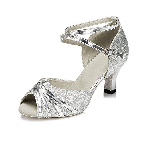 Miyoopark , Damen Tanzschuhe Silber