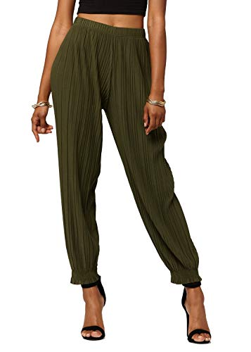 Conceited Women's High Waisted Wide Leg Pleated Harem Pants with Cuff Detail- Cuffed Olive Green - One Size - 903-Olive-Reg