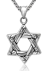 Mens Titanium Steel Retro Hollow Hexagram Mystic Flower Print Necklace Pendant (Only)