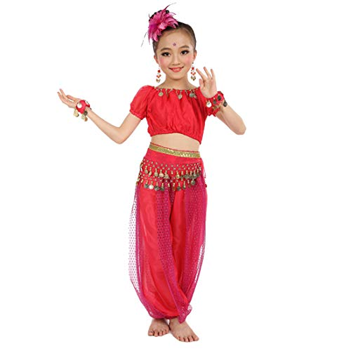 Maylong Girls Coined Top Harem Pants Belly Dance Outfit Halloween Costume DW70 (hot Pink, Large)