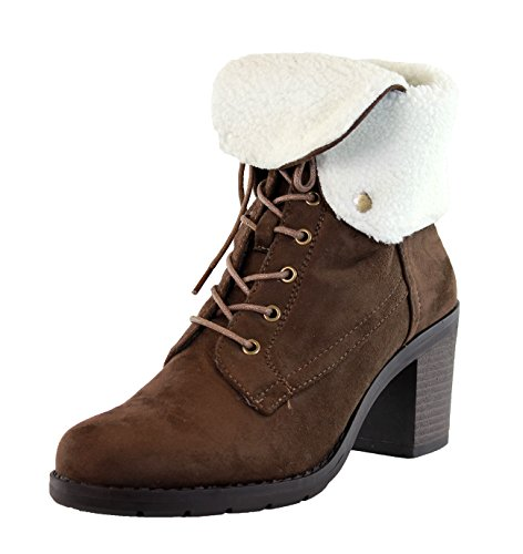 New Womens Ladies Ankle Boots Fur Lined Mid Block Heel Lace Up Casual Shoes Brown