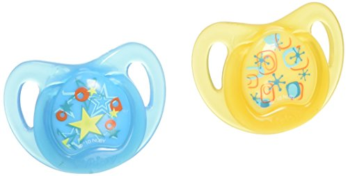 NUBY 2-Pack Pacifiers with Massaging Bristles, Colors May...