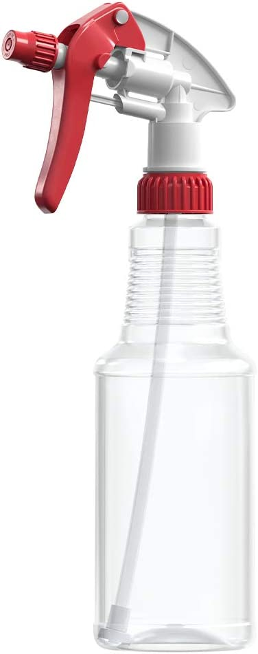BAR5F Empty Plastic Spray Bottles 16 oz, BPA-Free Food Grade, Crystal Clear PETE1, Red/White M-Series Fully Adjustable Sprayer (Pack of 1)