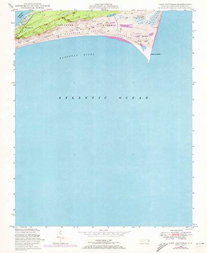 (YellowMaps Cape Hatteras NC topo map, 1:24000 Scale, 7.5 X 7.5 Minute, Historical, 1948, Updated 1973, 26.7 x 21.9 in - Tyvek)