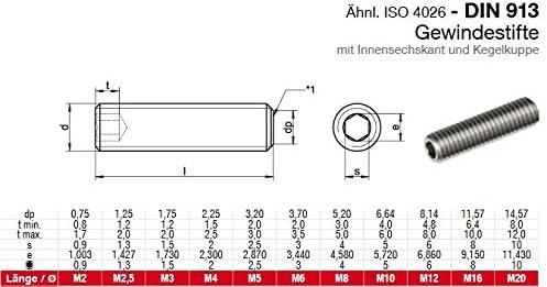 M3x6 10 STK Gewindestifte ISK Madenschraube. 3x6 Edelstahl A2 Kegelkuppe DIN913 mit Innensechskant u
