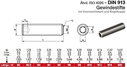 Gewindestifte M6x5 mit Innensechskant und Kegelkuppe 10 St/ück Madenschrauben ISO 4026 A2 Edelstahl