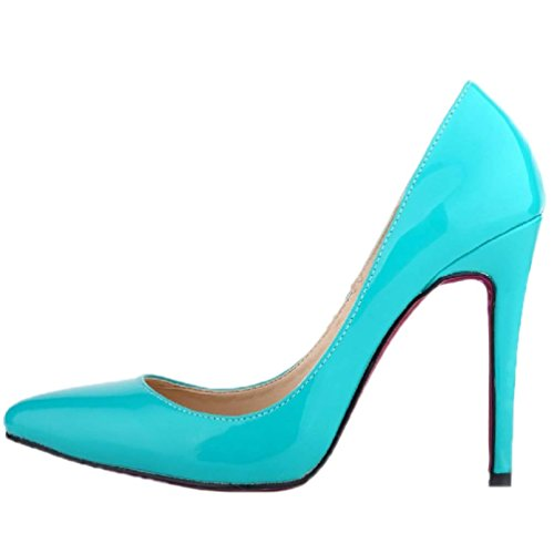 HooH Women's Pointed Toe Stiletto High Heel Pumps Red Sole Blue