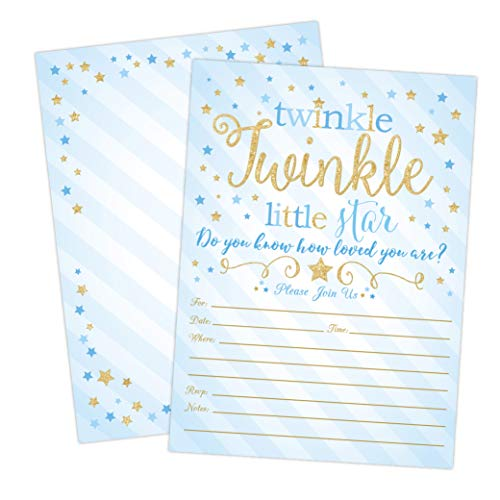 Boy Twinkle Twinkle Little Star Baby Shower Invitations, Blue and Gold Twinkle Twinkle Little Star Boy Baby Shower Invites, 20 Fill in Style with Envelopes -