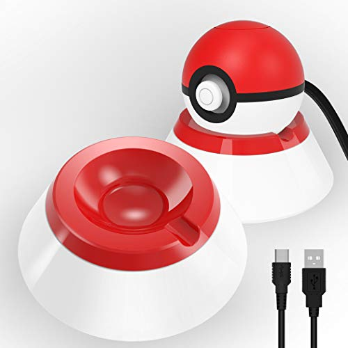 OIVO 2in1 Charging Stand Compatible with Nintendo Switch Poké Ball Plus, Accessories Kit& Pokemon Plus Controller, Charger& Charging Dock Stand Station Bracket Mount with Type C Cable - 2.8ft