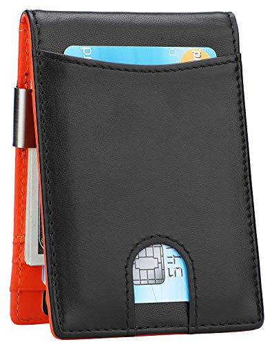 Money Clip Wallet - Mens Slim Front Pocket Leather Wallet RFID Blocking Minimalist Mini Wallet (Style 3 - Black/Orange)