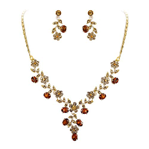 EVER FAITH Women's Austrian Crystal Elegant Feast Flower Leaf Necklace Earrings Set Brown Gold-Tone