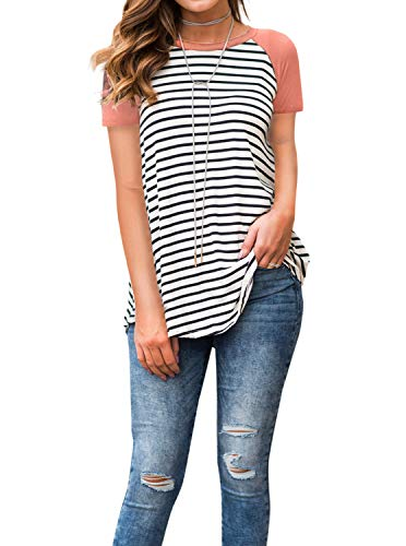 Adreamly Women's White and Black Striped Short Sleeve Baseball T Shirt Sport Tunic Tops Coral Pink -