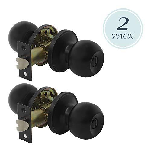 2 Pack Antique Ball Privacy Door Knob, Solid Steel Doorknob, Interior Door Knobs for Storeroom Bedroom Bathroom, Interior Door Use, Matte Black