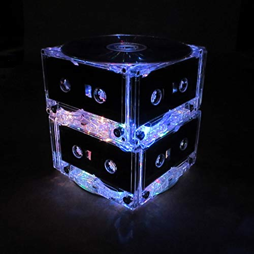 Basic Two Tier Rainbow Cassette Tape Party Light, Night Light, Wedding Table Centerpiece with 20 Bright Battery Operated LED Lights