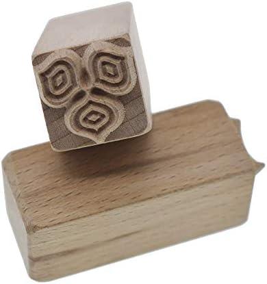 grastop クローバー 手彫り ウッド スタンプ 印刷 DIYクレイ 陶器 印刷 ブロック クレイ ツール 用