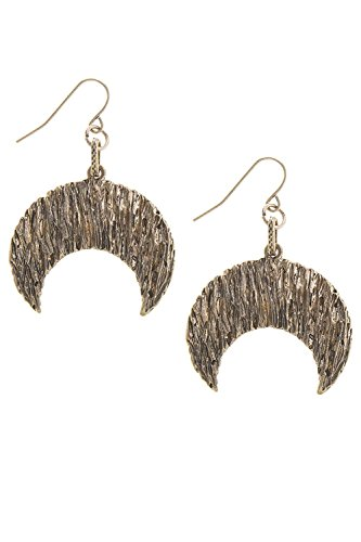 KARMAS CANVAS TEXTURED CRESCENT DROP EARRINGS (Antique Gold) (Hoop Small Gold Trifari)