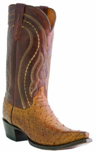 1883 Full Quill - Lucchese Men's Handcrafted 1883 Full Quill Ostrich Western Boot Square Toe Tan Burnish 12 EE US