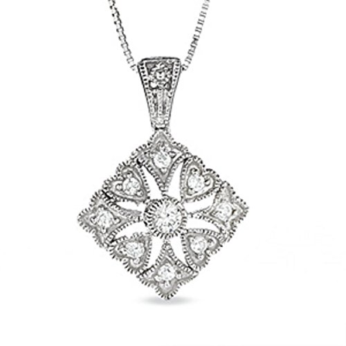 - Fleur-de-Lis and Heart Kite Pendant in 10K White Gold with Diamond Accents and 10K White Gold Chain